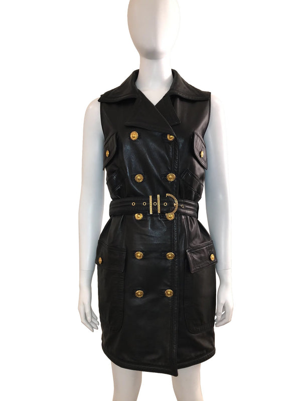 Vintage 90s Iconic Leather Dress w/ Belt