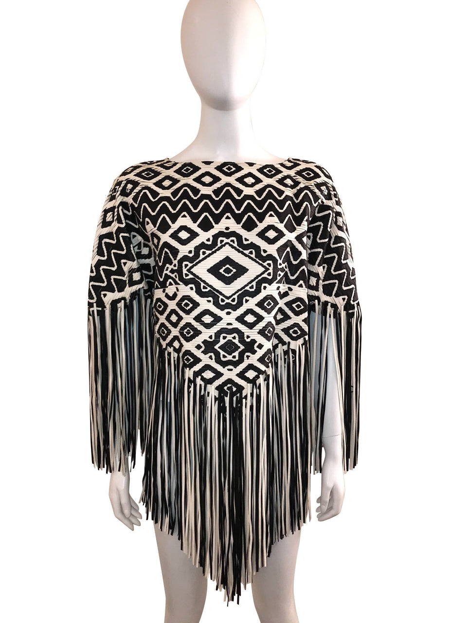 Fringed Leather Runway Poncho