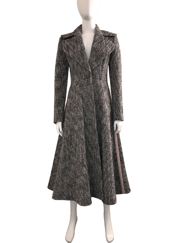 Tweed Fit and Flare Coat with Pink Piping