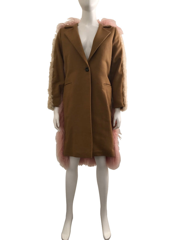 Camel Coat with Colour Blocked Fur Back