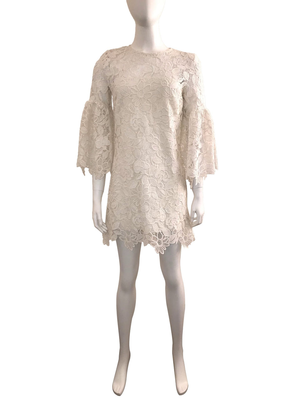 White Lace Bell Sleeve Mini Dress