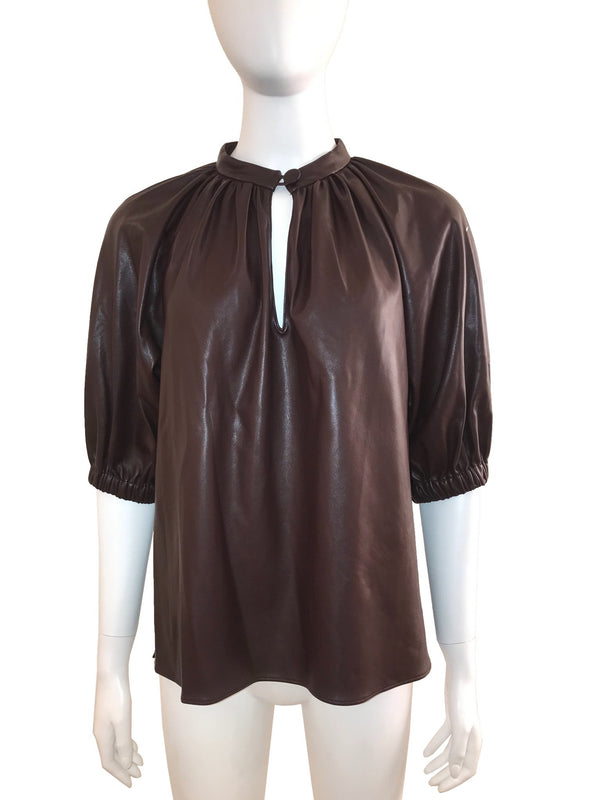 Faux Leather Top with Keyhole Front