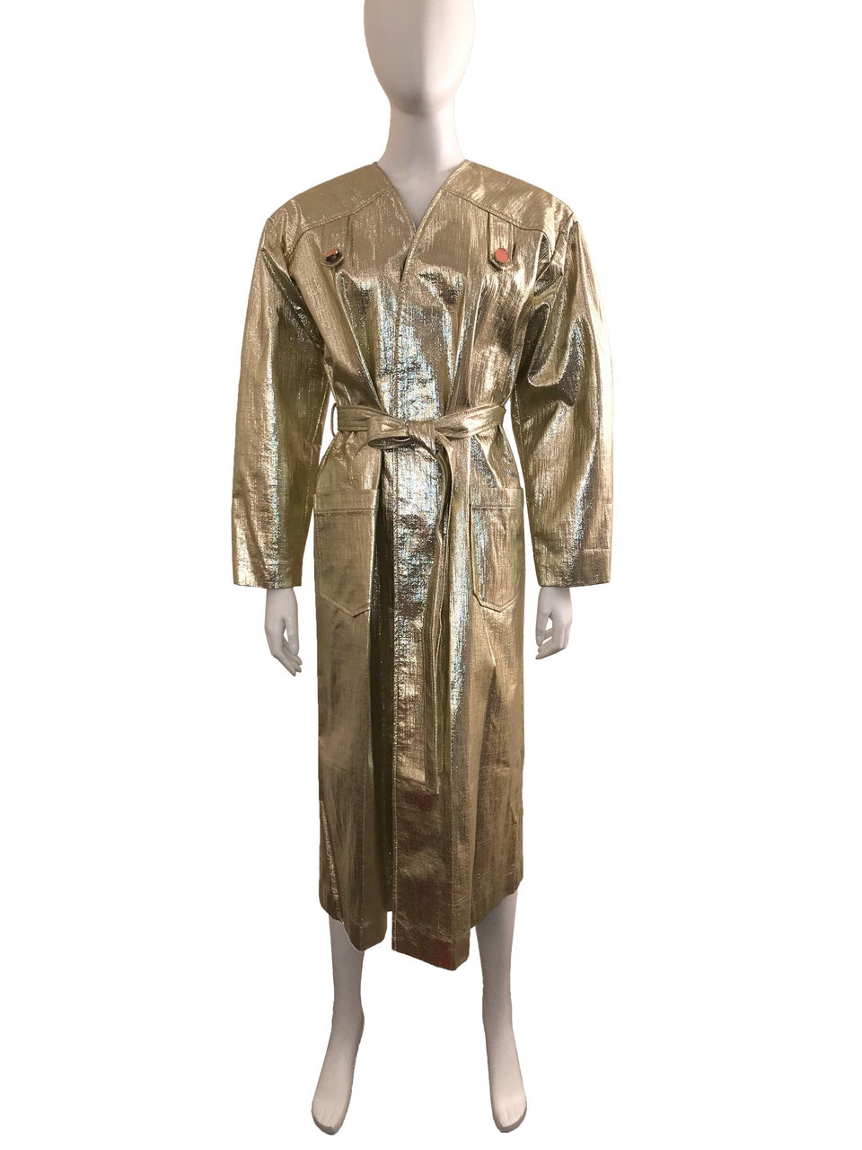 Gold Faux Leather Belted Trench Coat