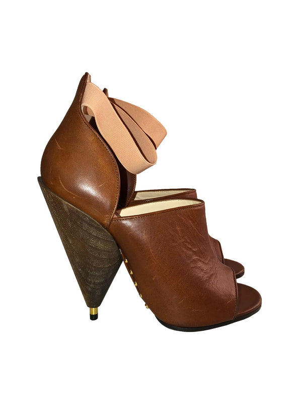 Brown Leather Sandals with Architectural Wood Heel