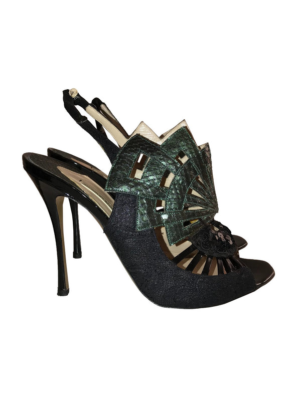 Suede and Python Cut-Out Slingback Sandals