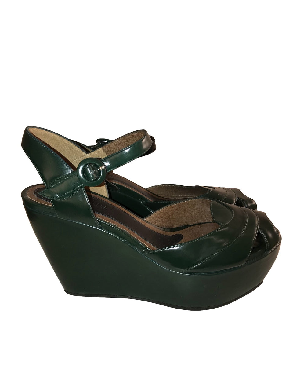 Green Leather Wedge Platform Sandals
