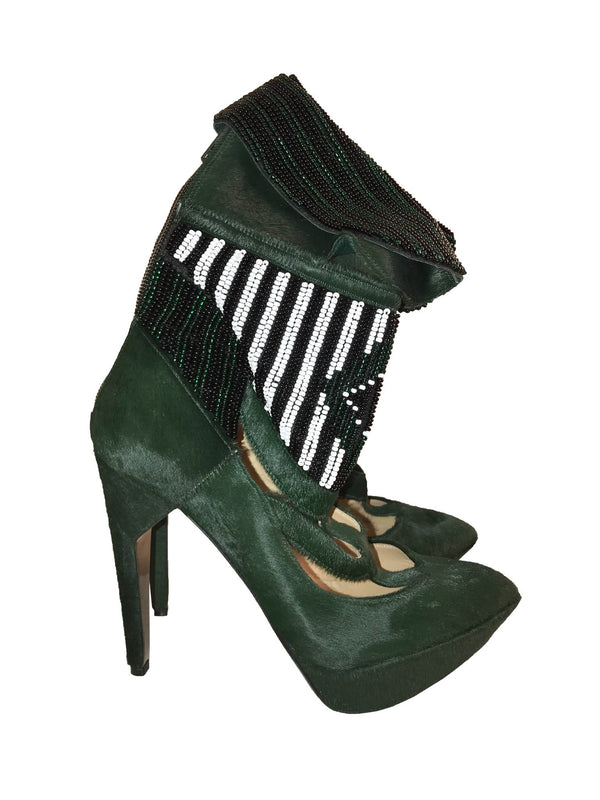 Green Suede Cut-out Booties with Beaded Cuff