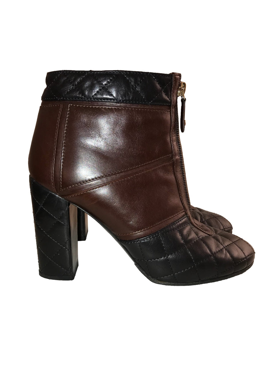 Brown & Black Quilted Round Toe Booties