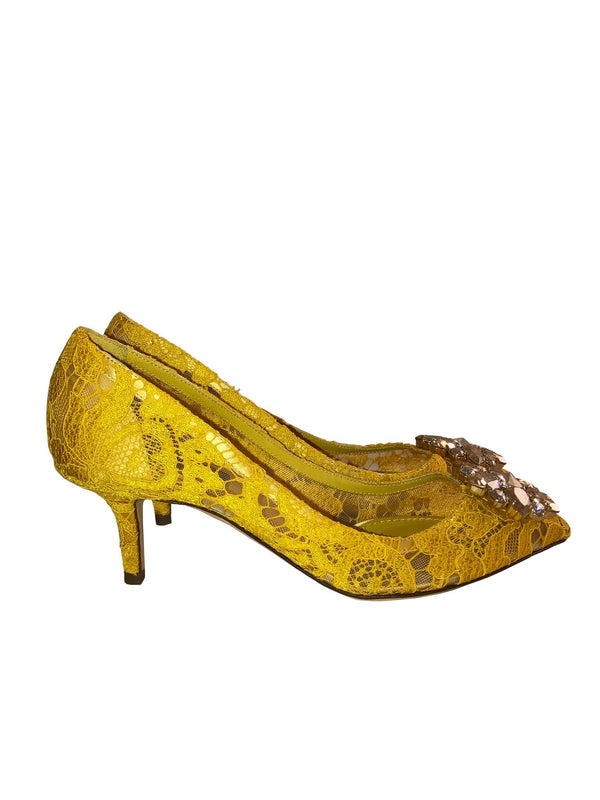 Yellow Lace Pump with Jewelled Buckle
