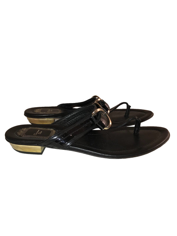 Black Patent Thong Sandals with Buckle