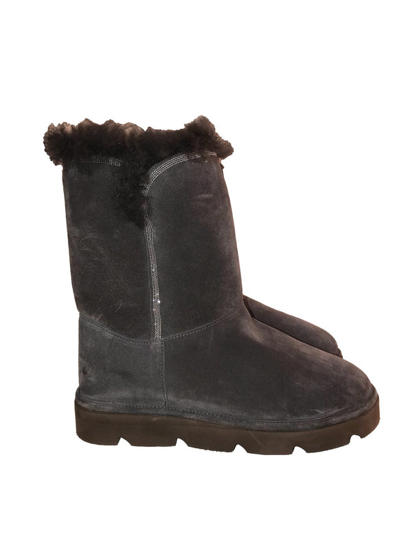 Grey Shearling Ugg Style Boots with Embellished Sides