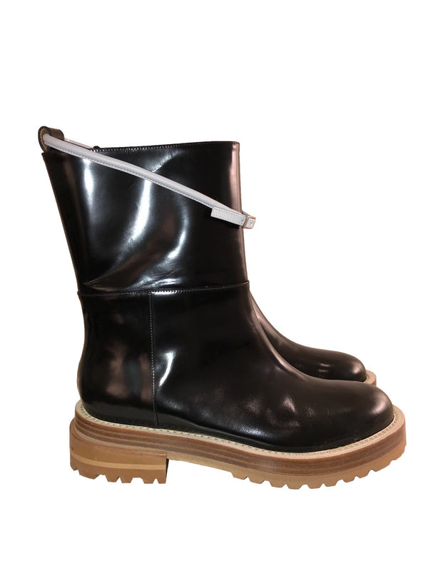 Patent Leather Boot with Rubber Sole