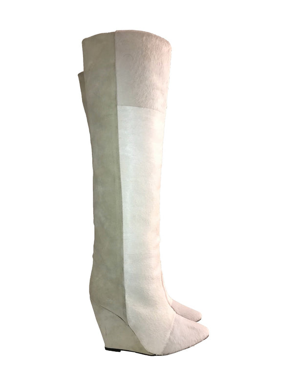 Ivory Ponyhair Runway Wedge Boots