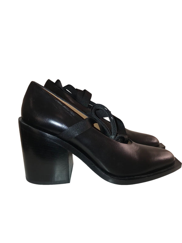 Black Leather Slip On Shoe with Ribbon Strap