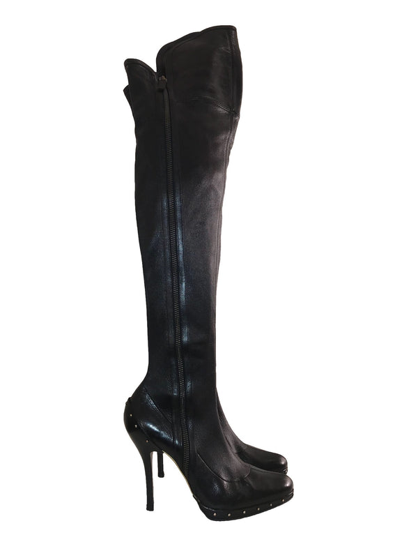 Leather Over-the-Knee Boot with Studded Detail