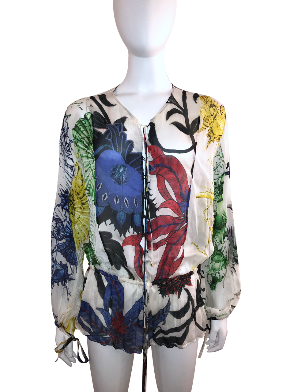 Roberto Cavalli Silk Floral Printed Tunic Blouse