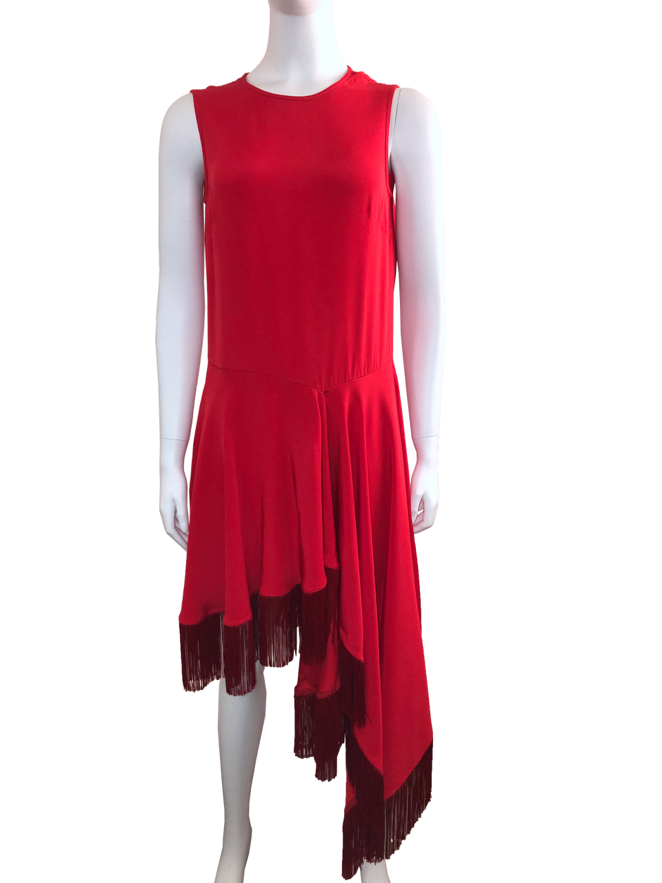 Red Asymmetrical Fringe Hem Dress w/ Tags