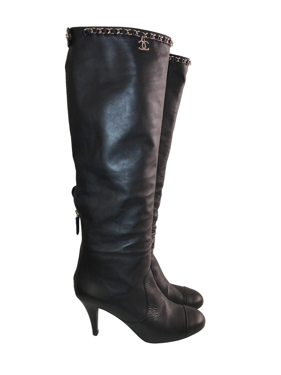 Leather Knee-High Boots with CC Chain at Top