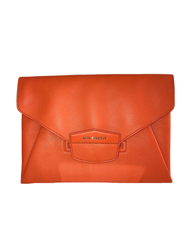 Orange Textured Leather Antigona Clutch