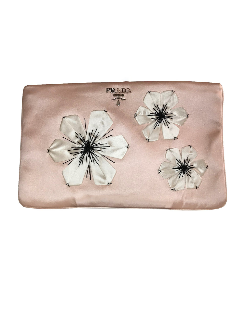 Pink Satin Envelope Clutch with Raised Flowers