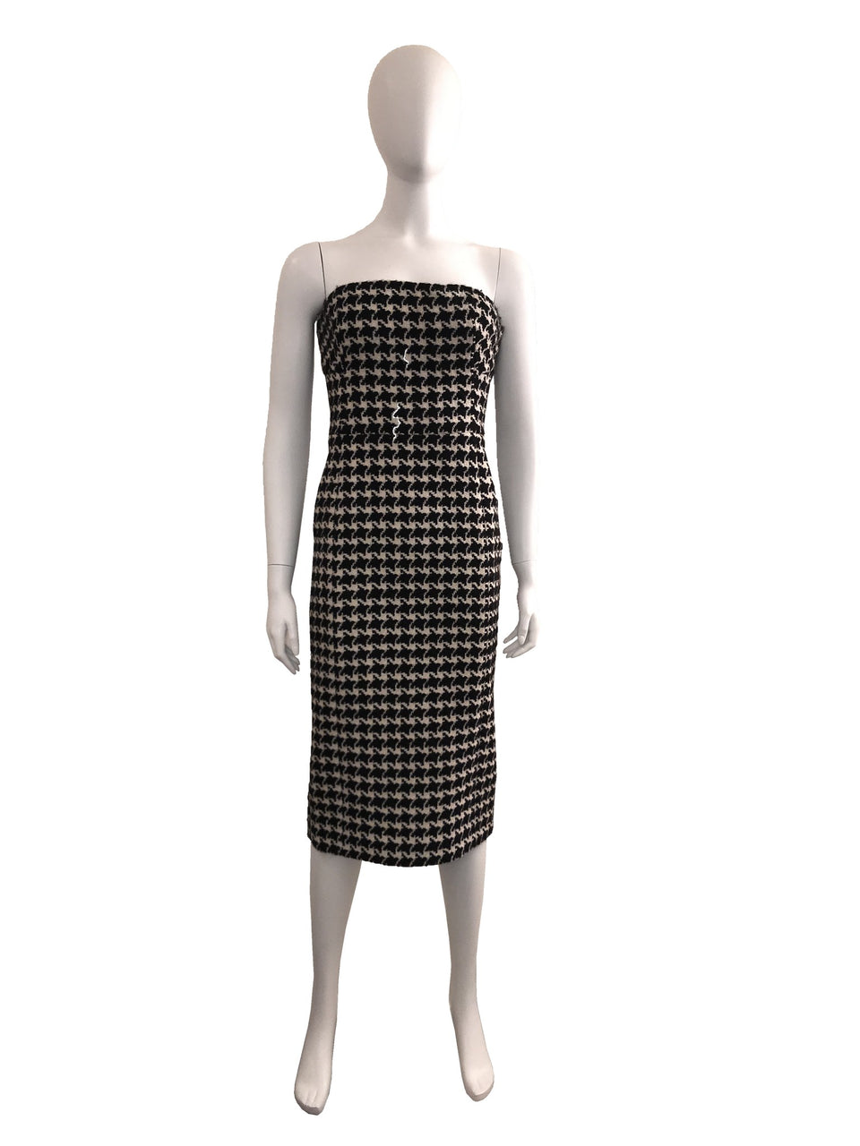Houndstooth Strapless Dress