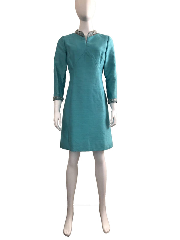 Silk Long Sleeve Dress with Beaded Detail