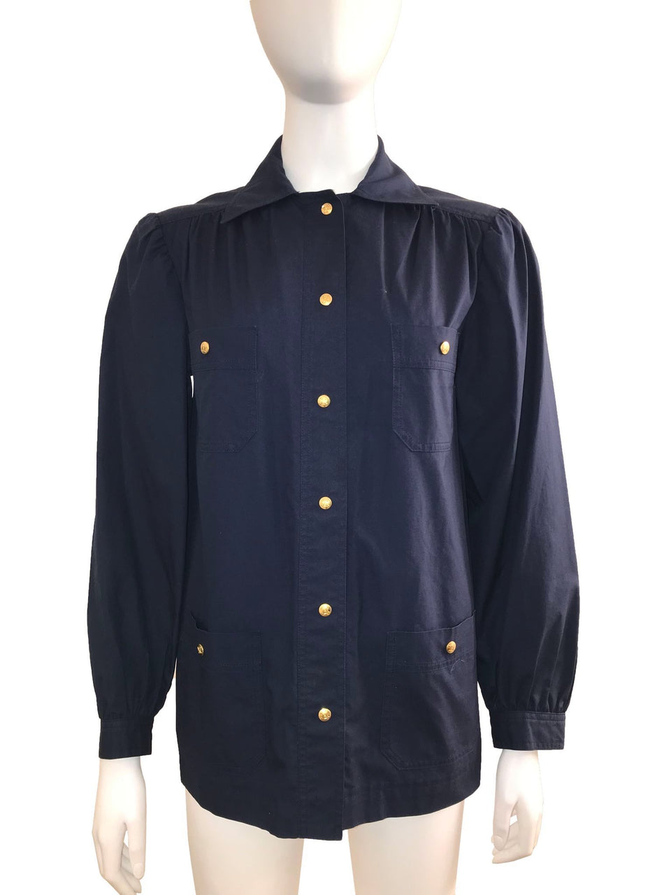 Vintage Navy Blue Cotton Shirt