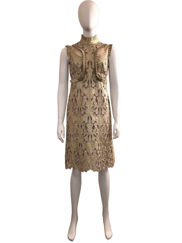 Gold Lace Knee Length Dress