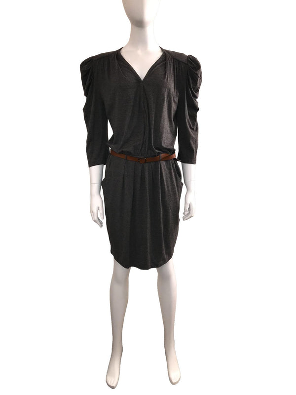 Exaggerated Shoulder Dress w/ Belt