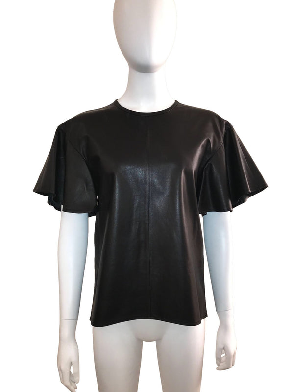 Leather Short Sleeve Top