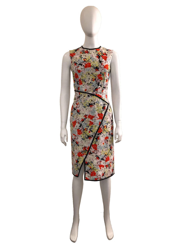 Floral Sheath Dress w/ Leather Piping