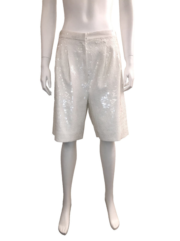 Tibi White High Waisted Sequin Shorts