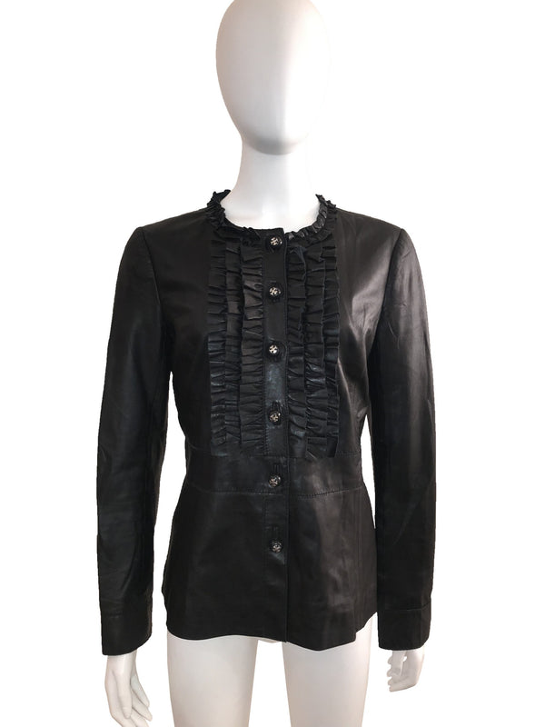 Tory Burch Leather Shirt Jacket