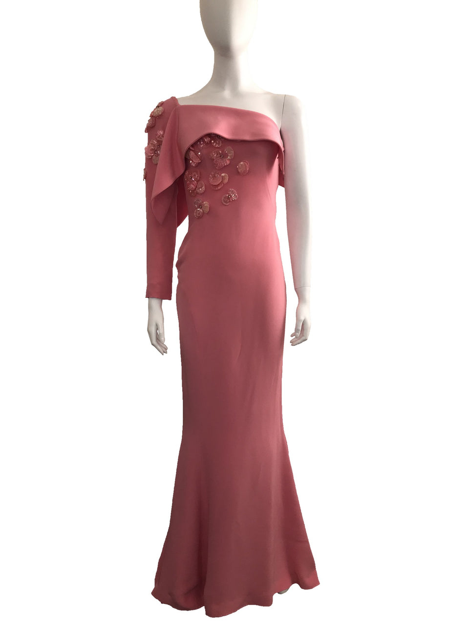 Zuhair Murad Pink Asymmetric One Sleeve Embellished Gown