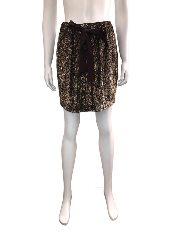 Sequined Mini Skirt w/ Ribbon Belt