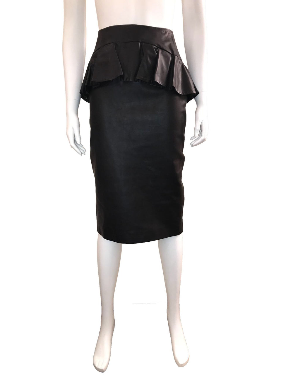 Leather Skirt with Ruffled Peplum
