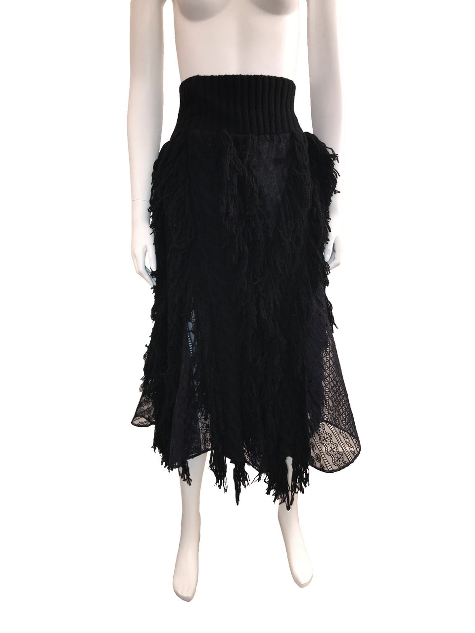 Sacai Black Cable Knit Fringe Skirt w/ Lace Inserts