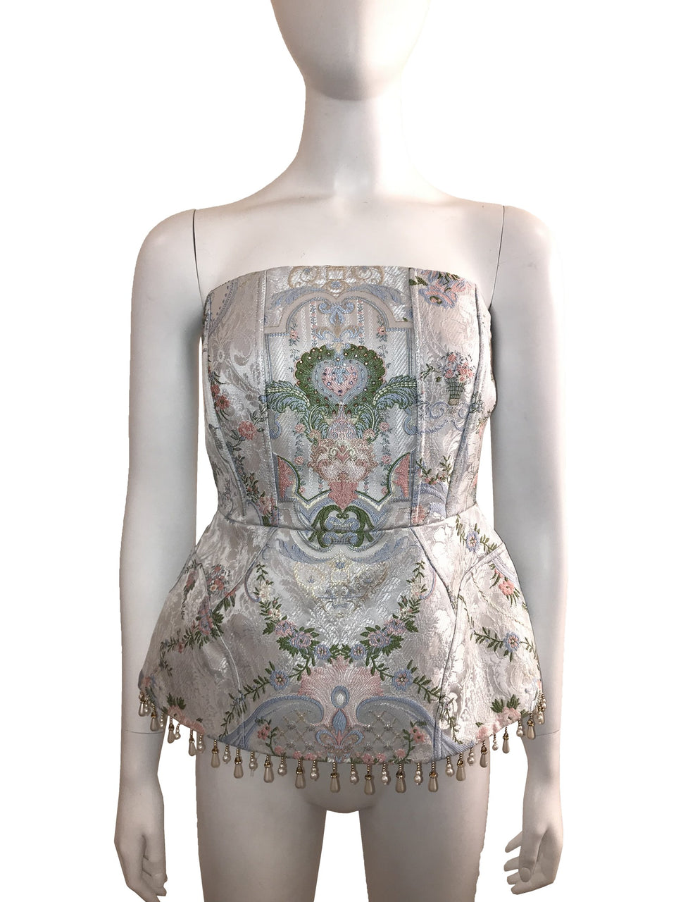 Brocade Corseted Bustier w/ Peplum and Pearl Beads