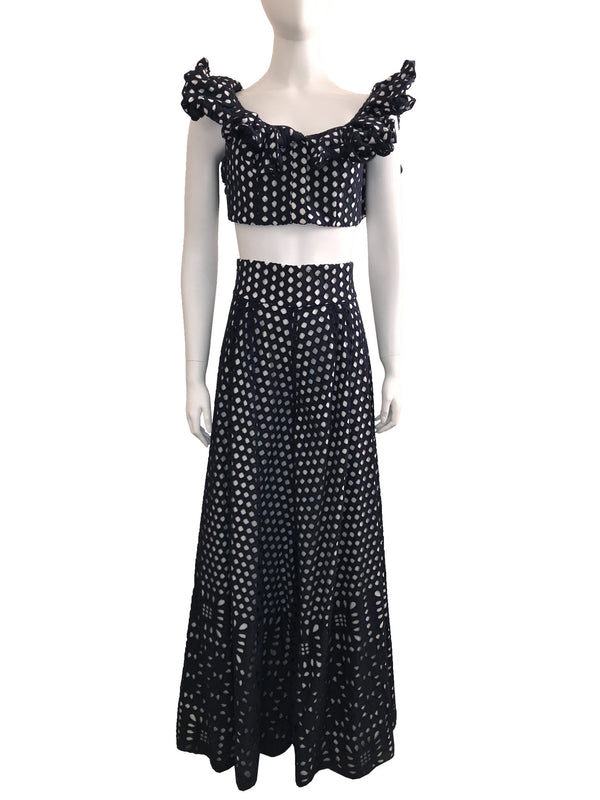 Eyelet Ruffle Crop Top and Wide Leg Pant 2 Piece