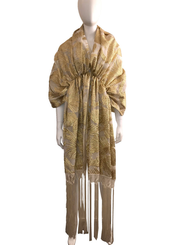 Gold Painted Gathered Shawl