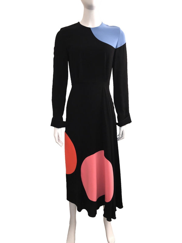 Black Midi Dress w/ Colored Polka Dots