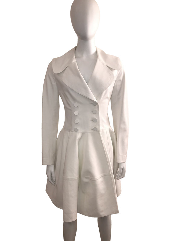 White Double Breasted Trench Coat