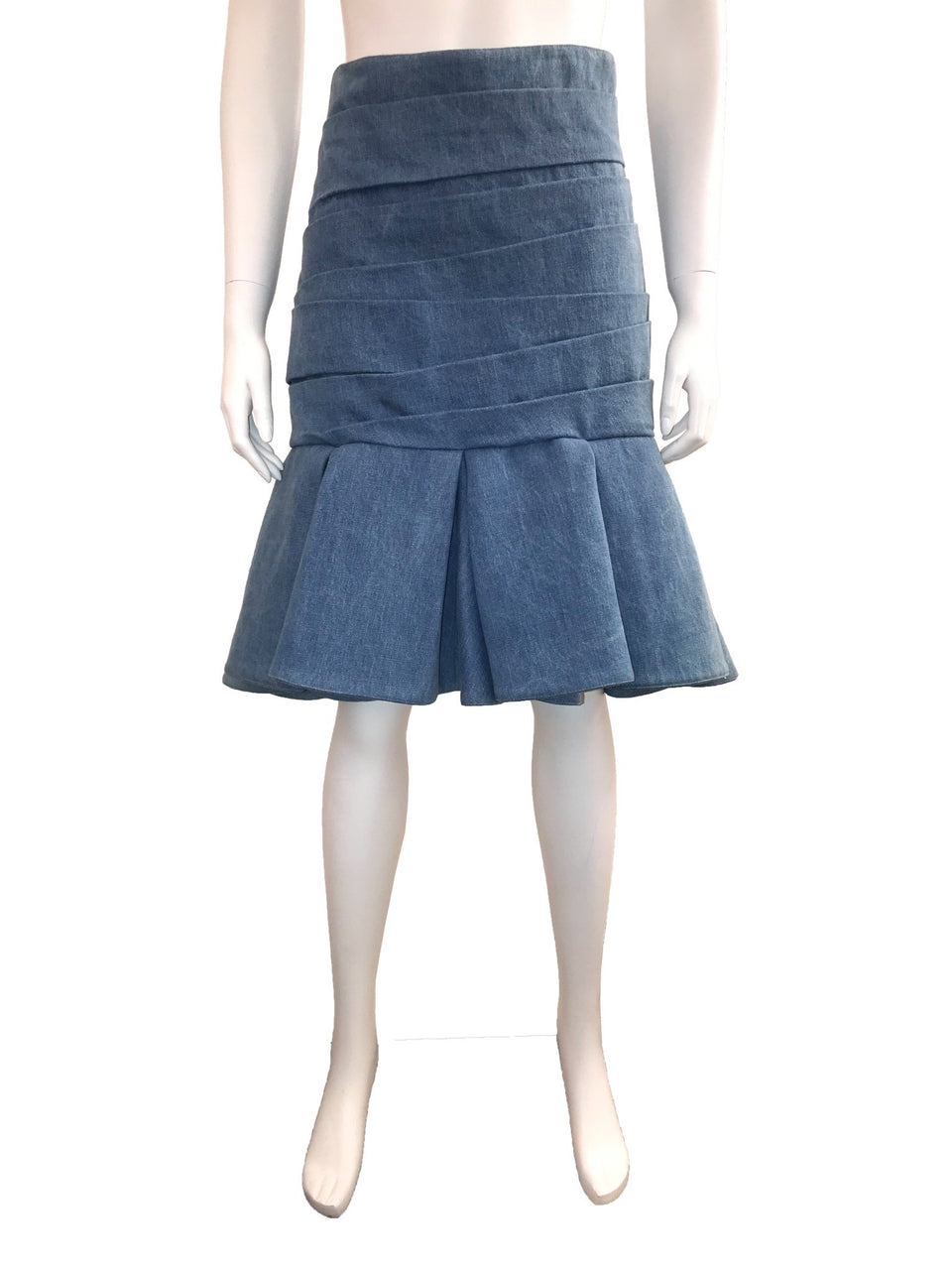 Denim Box Pleated Fit and Flare Skirt