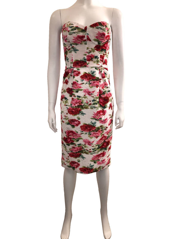 Strapless Floral Dress with Tweed Back