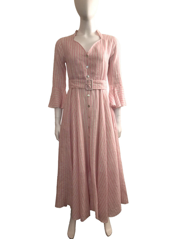 Pink Striped Linen Dress with Crystal Buttons