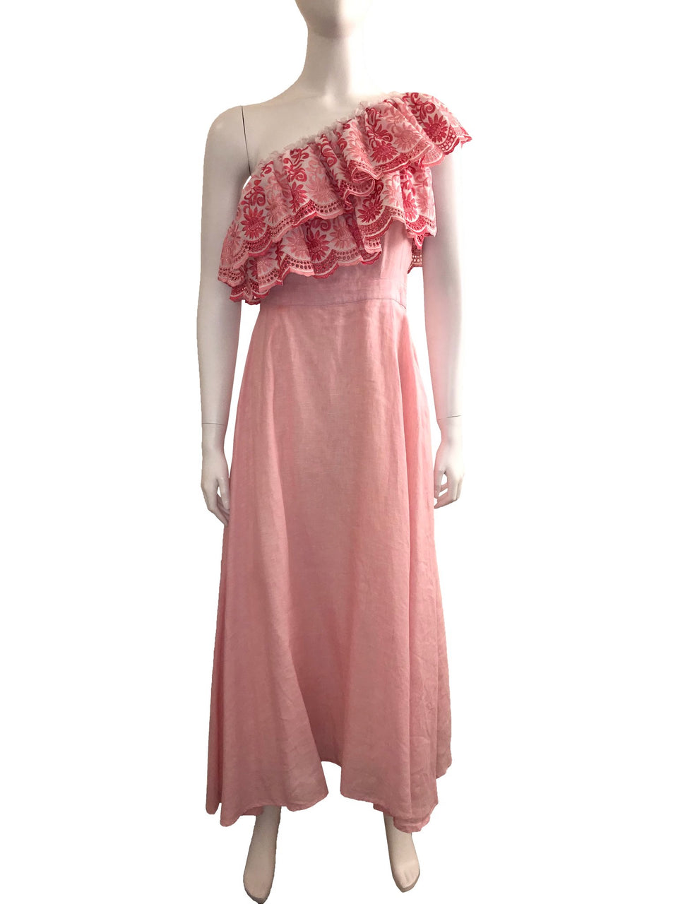 Pink Asymmetric Ruffle Maxi Dress