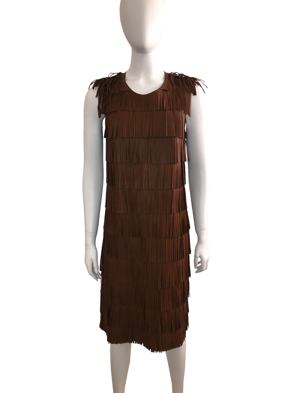Prada Brown Leather Runway Fringe Dress
