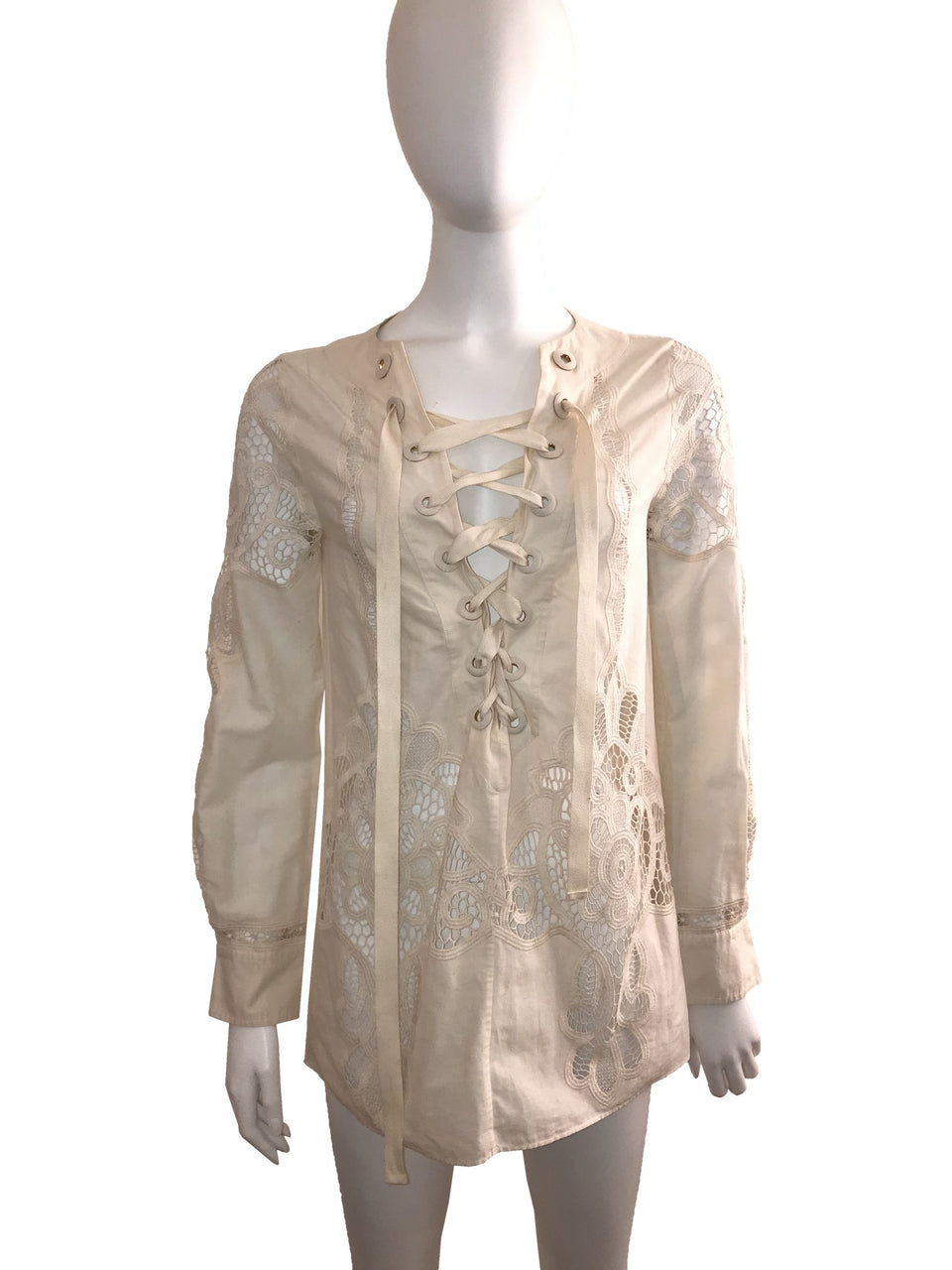 Ivory Runway Lace Up Blouse