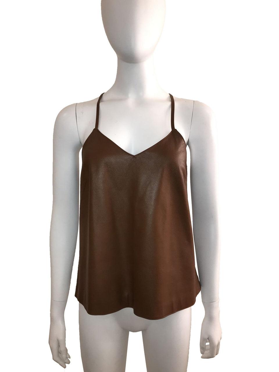 Tibi brown leather camisole