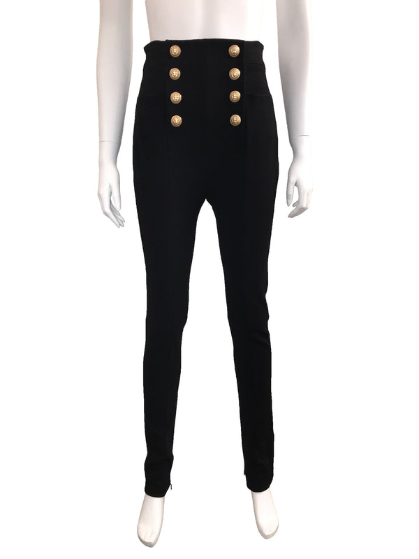 High Waisted Skinny Trousers with Gold Buttons